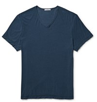 James Perse Slub Cotton And Linen Blend Jersey T Shirt Blue