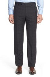 Zanella Men's 'Devon' Flat Front Plaid Wool Trousers Dark Grey
