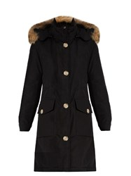 Woolrich Arctic Fur Trimmed Cotton Blend Canvas Parka Black