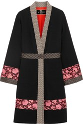 Etro Jacquard Trimmed Wool Crepe Jacket Black