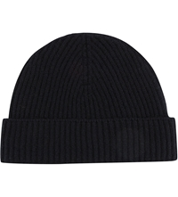 Johnstons Ribbed Cashmere Beanie Black