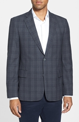 Nordstrom Classic Fit Plaid Sport Coat Charcoal Blue