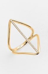 Women's Bony Levy 'Prism' Diamond Pave Elongated Bar Ring Yellow Gold Nordstrom Exclusive