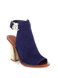 Tory Burch Gemini Link Suede Peep Toe Block Heel Sandals River Rock Royal Navy