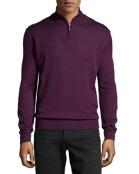 Neiman Marcus Wool Blend Half Zip Mock Turtleneck Sweater Boysenberry