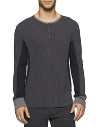 Calvin Klein Jeans Mixed Media Waffle Henley Tee Smoked Pearl