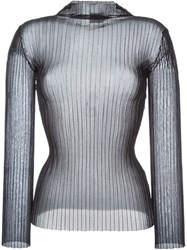 Fausto Puglisi Pleated See Through Sweater Black