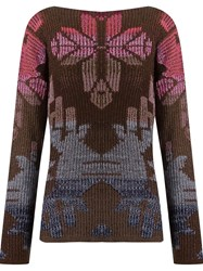 Cecilia Prado Pattern Knitted Blouse Brown