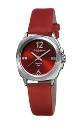 Akribos Xxiv Women's Diamond Satin Quartz Strap Watch Red