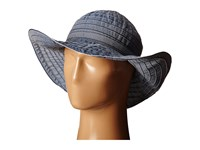 Scala Crushable Big Brim Ribbon Sun Hat Denim Caps Blue