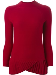 Emporio Armani Pleated Hem Fine Knit Sweater Red