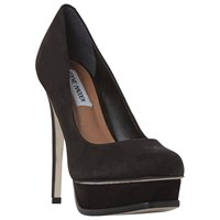 Steve Madden Kiss Platform Stiletto Heel Court Shoes Black Nubuck