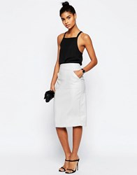 Asos Pu Pencil Skirt With Pocket Detail Ice Gray