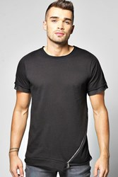 Boohoo Length Mesh Panel T Shirt Black
