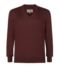 Maison Martin Margiela V Neck Leather Elbow Patch Sweater Male Plum