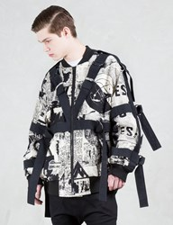 Ktz Newspaper Print Bomber Jacket W Bondage Detail