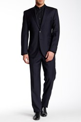 English Laundry Peak Lapel Wool Suit Blue