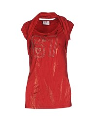 Met In Jeans Topwear T Shirts Women Red