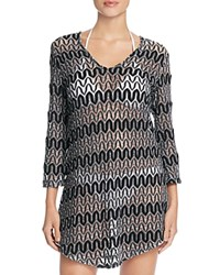 J. Valdi Zigzag Crochet Tunic Cover Up Black White