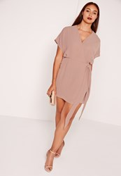 Missguided Plus Size Kimono Sleeve Wrap Dress Brown Grey