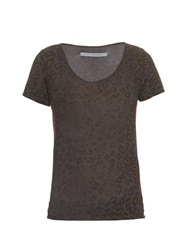 Raquel Allegra Leoapard Print Cotton Knit T Shirt