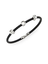 Alor Noir White Topaz 18K White Gold And Black Stainless Steel Bangle Bracelet