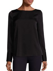 Bcbgmaxazria Solid Long Sleeve Blouse Black