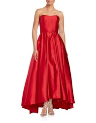 Betsy And Adam Strapless Satin Gown Red