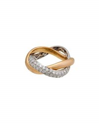 Poiray 18K Two Tone Slim Braided Diamond Band Ring Multi