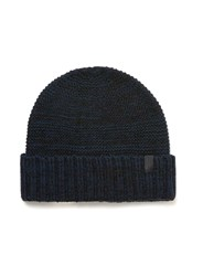 Selected Blue Homme Navy Waffle Textured Beanie Hat