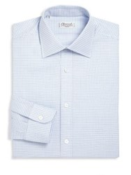 Charvet Regular Fit Checkered Dress Shirt Blue