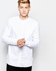 New Look Long Sleeved Shirt With Grandad Collar White