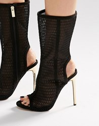 Carvela Gloria Black Lace Up Laser Cut Calf Boots Black