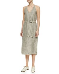 The Row Self Tie Linen Dress Grey Taupe Melang