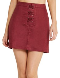 Bcbgeneration Faux Suede A Line Skirt Wine Red