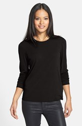 Petite Women's Eileen Fisher Silk Tee Black