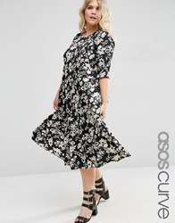 Asos Curve Pleat Front Smock City Maxi In Mono Floral Print Floral Multi