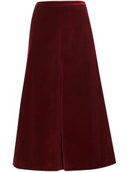 Rosetta Getty Wide Leg Cropped Trousers Red