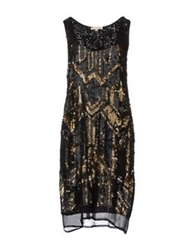 Gold Hawk Short Dresses Black
