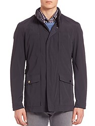 Pal Zileri Leather Trimmed Field Jacket Navy