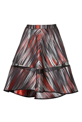 Ostwald Helgason Graphic Print Draped Skirt In Red Brushstroke 6