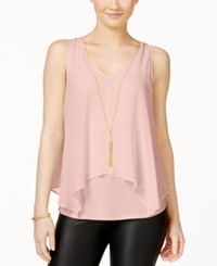 Amy Byer Bcx Juniors' Flyaway Front Tank Top With Necklace Blush