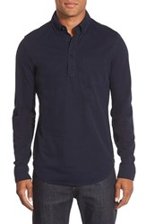 Men's Bonobos Slim Fit Long Sleeve Pique Polo Midnight Blue