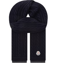 Moncler Chunky Wool Scarf Navy
