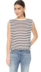 Alexander Wang Striped Bateau Tee Ink And Ivory