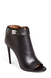 Givenchy 'Ryka' Shark Tooth Open Toe Bootie Women Black Leather