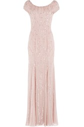 Jenny Packham Bead And Sequin Embellished Floor Length Silk Gown Rose