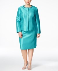 Kasper Plus Size Beaded Skirt Suit Aquamarine