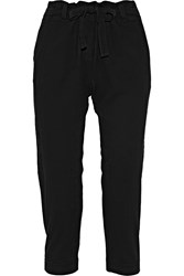 Raquel Allegra Cropped Stretch Crepe Tapered Pants Black
