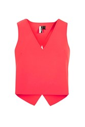 Topshop Button Back Crop Top Coral